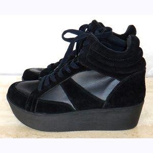 Steve Madden black suede platform sneakers